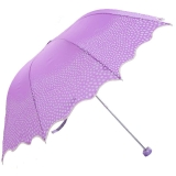 高密碰击布三折超轻晴雨伞,恬心公主33129E,紫色