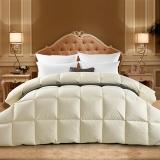 霞珍 被芯家纺 全棉50%白鸭绒被 保暖加厚羽绒被 秋冬被子 米黄 填充量1.4kg 200*230cm