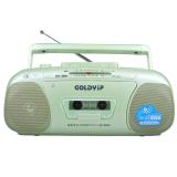 金业(GOLDYiP)GP-901UC迷你音响 多功能收录机 重低音增强 磁带内外录音 放音 FM收音 U盘 TF卡 绿色