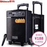 新科(Shinco)T503 广场舞音箱 音响户外蓝牙音箱便携插卡带麦克风(黑色)