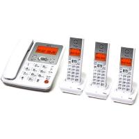TCL D60数字无绳电话机座机子母机中文菜单免提大按键屏幕背光家用办公固定无线座机/一拖三套机(雅致白)