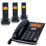 TCL D60数字无绳电话机座机子母机中文菜单免提大按键屏幕背光家用办公固定无线座机/一拖三套机(黑色)