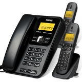 飞利浦(PHILIPS)DCTG182一拖二 双免提/内部通话/无绳电话机/座机电话机子母机/子母电话座机 黑色
