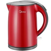 美的(Midea)电水壶WH415E2g 304不锈钢电热水壶 1.5L容量 无缝一体内胆 双层防烫烧水壶(红玉)
