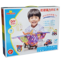 优彼ubbie 磁力片积木 78片装 百变提拉 磁性积木磁铁拼装建构片 儿童益智玩具