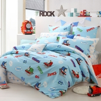 多喜爱(Dohia)床品套件 全棉卡通托马斯系列四件套 床单款 托马斯培西和詹姆士 1.5米床 200*230cm