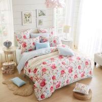 多喜爱(Dohia)床品套件 全棉斜纹双人四件套 床笠款 蔷薇花事 1.8米床 230*230cm