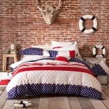多喜爱(Dohia)床品套件 全棉印花简约风四件套 床笠款 雅克德罗 大双人 1.8米床 230*230cm