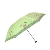 黑胶三折超轻晴雨伞,小猫咪咪33115E 荧光绿