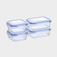 佳佰 保鲜盒高硼硅耐热玻璃保鲜盒4件套(2长2方)