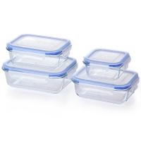 佳佰 饭盒耐热玻璃保鲜盒4件套(1大2中1小)