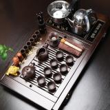 言艺 茶具套装 紫砂陶瓷功夫茶具四合一棕八骏图实木茶盘快速炉