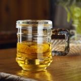 奇高茶杯 玻璃花果茶杯带过滤茶漏泡茶杯(400ml)带盖耐热玻璃男士滤茶杯 CK-301A