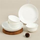 SKYTOP斯凯绨 碗盘碟陶瓷骨瓷餐具套装8头 白瓷圆形