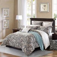 水星家纺 全棉斜纹印花床上四件套 亚洛克 床品套件床单被罩 1.5米床
