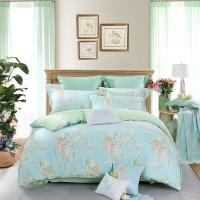 水星家纺(MERCURY) 床上用品四件套纯棉 全棉斜纹印花被套床单 威尼斯花园(浅蓝) 双人1.5米床