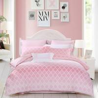 水星家纺(MERCURY) 床上用品四件套纯棉 全棉斜纹印花被套床单 初夏之音(浅粉) 双人1.5米床