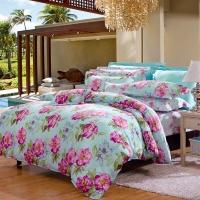 富安娜家纺全棉活性印花床上四件套烟雨怡花 1.5米床适用(203*229cm)红色