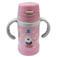 小白熊 儿童不锈钢吸管手把保温水壶260ml宝宝便捷保温杯09110
