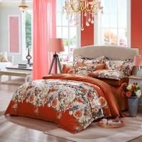 LUOLAI罗莱家纺 纯棉四件套 全棉床品套件床上用品床单被套 奥丽莎花园WA5017-4 橙 220*250