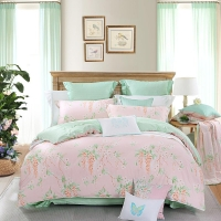 水星家纺(MERCURY) 床上用品四件套纯棉 全棉斜纹印花被套床单 威尼斯花园(浅粉) 双人1.5米床