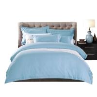 水星家纺(MERCURY) 床上用品四件套纯棉 全棉缎纹素色被套床单 醇真(淡蓝) 双人1.5米床