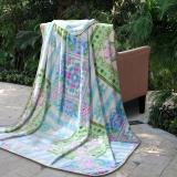 富安娜(FUANNA)家纺毯子 四季毛毯 加厚毯 法兰绒毯 青青田园 蓝 1.5*2m