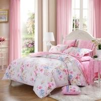 水星家纺(MERCURY) 全棉斜纹印花四件套 晨露合香 粉色花卉双人1.5米床