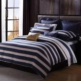 梦洁家纺出品 MEE 床品套件 纯棉印花四件套 经典条纹 皇家不列颠 1.5米床 200*230cm