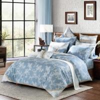 水星家纺(MERCURY) 全棉斜纹印花四件套诺维莉雅 双人1.5米床美式花卉床品