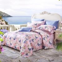 梦洁家纺出品 MEE 床品套件 纯棉印花四件套 全棉床单被罩 泽西岛 粉 1.5米床 200*230cm