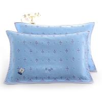 金号纯棉无捻提缎提花枕巾G2056H蓝色两条装