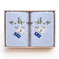 金号纯棉清新淡雅玫瑰花两条毛巾礼盒2185H蓝色