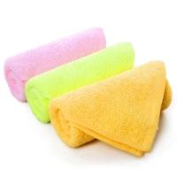 金号 毛巾家纺 纯棉T1055素色卡通童巾粉黄绿混色3条装