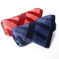 金号纯棉毛巾家纺G1742红蓝吸水面巾2条装