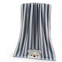金号 床品家纺 舒特曼彩条猫头S3131WH纯棉浴巾蓝色1条装