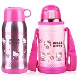 HELLO KITTY 凯蒂猫婴儿童保温杯 宝宝童趣畅饮吸管水壶 双盖可选(含杯套) 600ML 透明粉