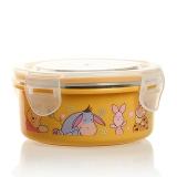 迪士尼(Disney)韩国进口维尼圆形儿童不锈钢保鲜便当饭盒餐具