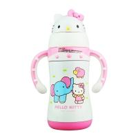 Hello kitty 凯蒂猫儿童保温吸管水杯 卡通双柄学饮杯子 300ML 白色