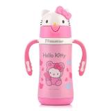Hello kitty 凯蒂猫儿童保温吸管杯 卡通双柄学饮水杯 300ML 粉红
