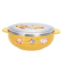 迪士尼(Disney)韩国进口维尼儿童不锈钢餐具 婴儿辅食双耳碗(带盖)03