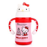 HELLO KITTY 凯蒂猫儿童保温杯 宝宝萌趣多色学饮杯不锈钢保温吸管水杯 220ML 粉红色