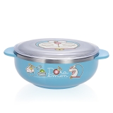 哆啦A梦(Doraemon)(韩国进口)儿童不锈钢 婴儿碗餐具辅食双耳大碗(带盖)03