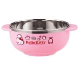 【韩国进口】乐扣乐扣 HELLO KITTY 婴幼儿不锈钢双耳隔热碗(粉色)LKT473