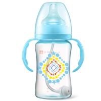 gb好孩子 奶瓶奶嘴 母乳实感宽口径握把吸管PPSU奶瓶240ml(星空系列) B80303