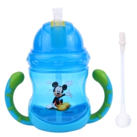 迪士尼宝宝水杯吸管杯婴儿学饮杯防漏带手柄水杯 蓝色米奇