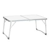 尚龙便携式铝合金折叠户外电脑桌书桌 懒人床上小桌 野营餐桌 置物桌 迷你精巧方便携带 60*40cm白色 C01