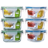 贝特阿斯(BestHA)耐热玻璃保鲜盒六件套(400ml*3+450ml*3) 烤箱 冰箱 微波炉适用饭盒RL6-02