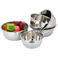 美厨加厚不锈钢沥水篮味斗洗菜盆调料盆沙拉盆五件套 MCPW-5