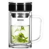 特美刻(TOMIC)玻璃杯 双层带手柄茶杯男女士水杯 杯子 1BSB1135 透明